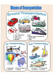 English Worksheet: Means of Transportation - Picture Dictionary