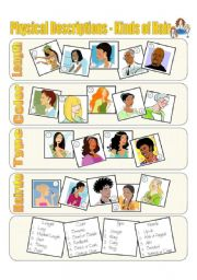 English Worksheets: Physical Descriptions - Hair - Picture Dictionary