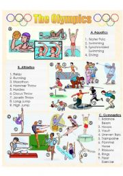 English Worksheet: The Olympics Picture Dictionary 1