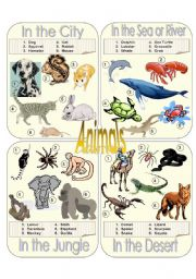 English Worksheet: Animals Picture Dictionary Part 1