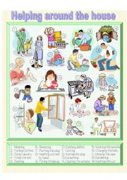 English Worksheet: Helping Around the House - Picture Dictionary