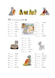 A or An? - ESL worksheet by Carlos D.