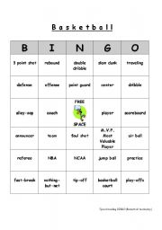 English Worksheet: Commom vocabulary used when playing basketball