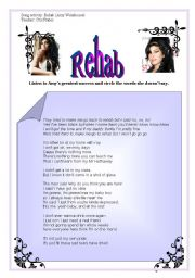 English Worksheets: song activity - Rehab - Amy Winehouse