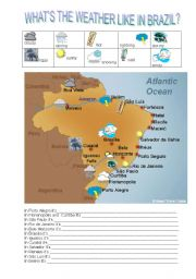 English Worksheet: WHAT�S THE WEATHER LIKE IN BRAZIL?