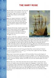 English Worksheets: The Mary Rose