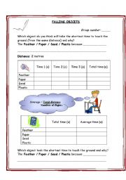 English Worksheets: falling objects - gravity - air resistance