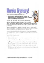 English Worksheets: Murder Mystery!
