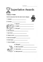 superlatives awards  worksheet: Superlative Awards