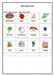 English worksheet: The foods Pictionary