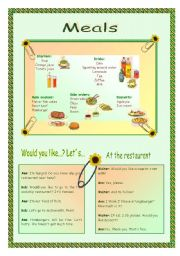 English Worksheet: Meals