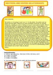 English Worksheet: Brothers and sisters relationships
