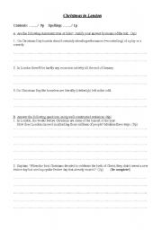 English Worksheets: reading: Christmas in London (part2)