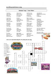 English Worksheet: present continuous with a song