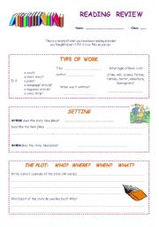 English Worksheet: Reading review