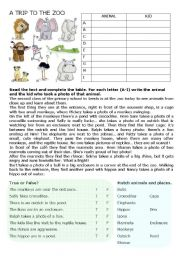 English Worksheet: A Trip To the Zoo