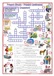 English Worksheets: Present Simple - Present Continuous Crossword
