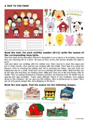 English Worksheet: A Trip To the Farm - Part1