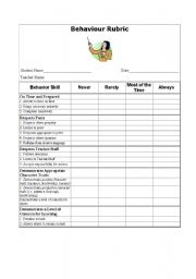 English Worksheet: Oral Presentation and Behaviour Rubrics