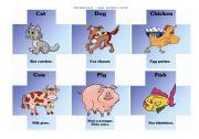 English Worksheets: Paraphrasing game - animals cards I