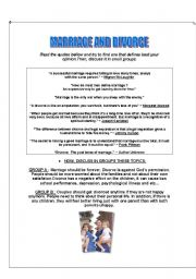 English Worksheet: CONVERSATION CLASS - MARRIAGE AND DIVORCE