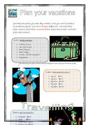 English Worksheets: Travel Plan (1/2)