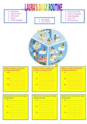 English Worksheets: LAURA�S  DAILY ROUTINE