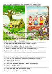English Worksheets: grammar practice with picture comprehension