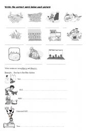 English Worksheets: Country and city Vocabulary and  chores.