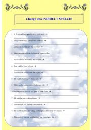 English Worksheet: Direct and Indirect Speech - PART 1