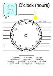 English Worksheets: Tell the time in Hours and Minutes (2 pages)