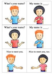 English Worksheets: what´s your name? nice to meet you.