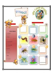 English Worksheets: Insect -  Match Part 2/2