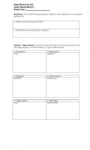 English worksheet: video games, websearch