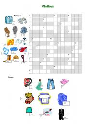 English Worksheet: Clothes Crossword