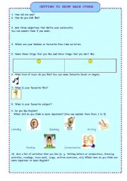 English Worksheet: ICEBREAKER: GETTING TO KNOW EACH OTHER