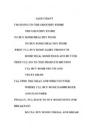 English Worksheet: food jazz chant
