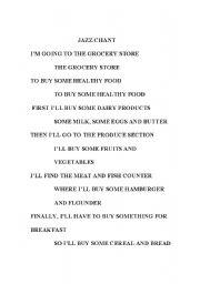 English Worksheets: food jazz chant