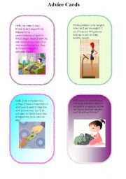 English Worksheets: advice cards part3