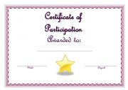 English Worksheets: Certificate of Participation