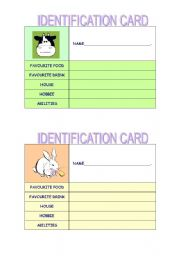 English Worksheets: identification card- set 1