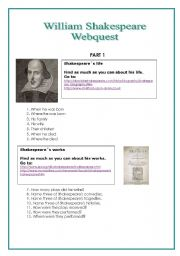 English Worksheet: Shakespeare Webquest