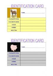 English Worksheets: identification card - set 2