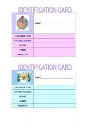 English Worksheets: identification card- set 3