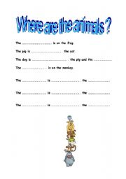 English Worksheets: where are the animals