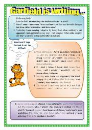 English Worksheet: Garfield�s Letter. New design.