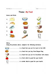 English Worksheet: Food Quiz
