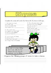 English Worksheets: Rhyme