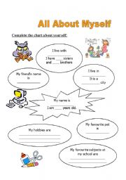 English worksheet: All about myself