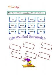 English Worksheets: word chop